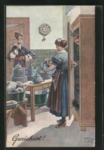 Künstler-AK Arthur Thiele: Soldat versteckt sich im Schrank vor Hausherrin in Küche, Gesichert