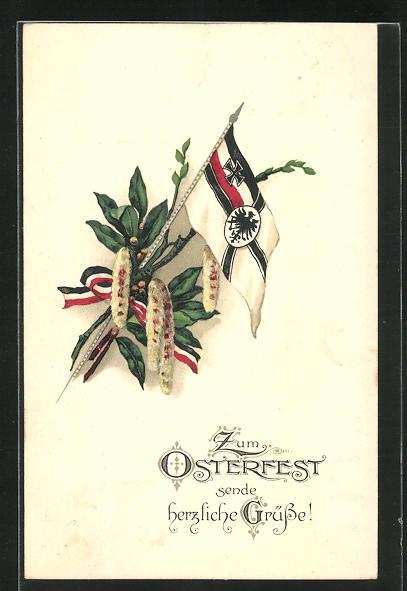 AK Zum Osterfest sende herzliche Grüsse!, Reichskriegsflagge und Lorbeer