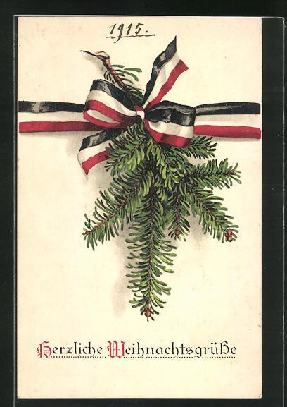 AK Herzliche Weihnachtsgrüsse, Tannenzweig mit Fahnenschmuck