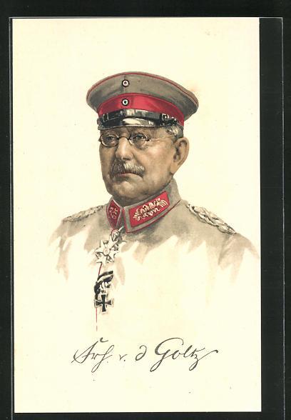 Lithographie Portrait Heerführer von der Goltz in Uniform, AK-Reklame rückseitig