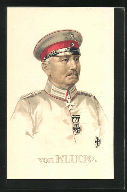 Lithographie Portrait Heerführer von Kluck in Uniform, AK-Reklame rückseitig