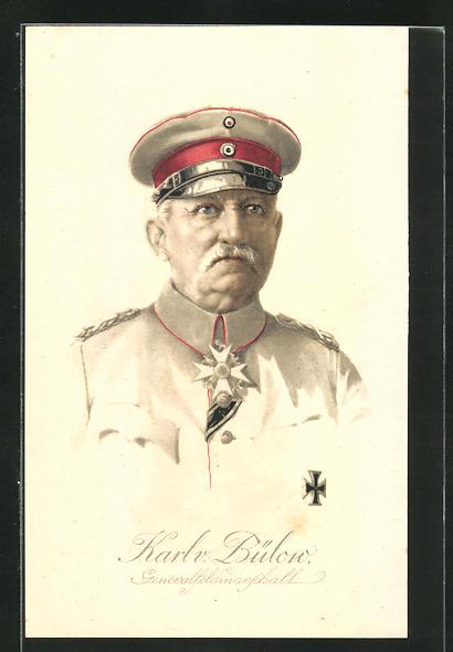 Lithographie Portrait Heerführer Karl v. Bülow in Uniform, AK-Reklame rückseitig