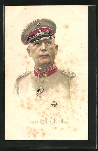 Lithographie Portrait Heerführer von Einem in Uniform, AK-Reklame rückseitig