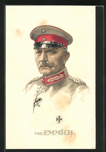 Lithographie Portrait Heerführer von Emmich in Uniform, AK-Reklame rückseitig