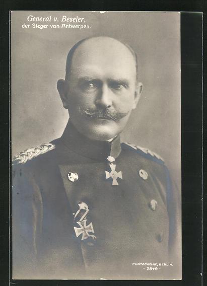 AK Heerführer General v. Beseler mit Eisernem Kreuz, Sieger von Antwerpen