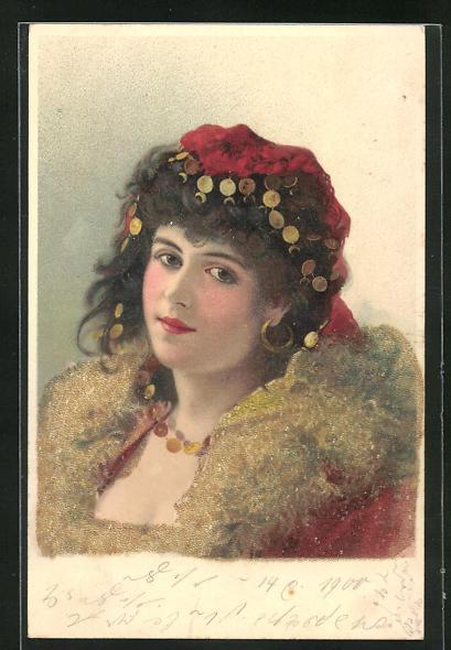 Lithographie Damenportrait mit Kopfschmuck und Glitzer, Jugendstil