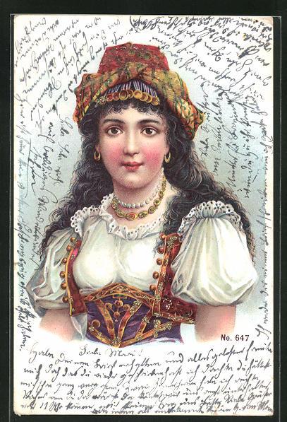 Lithographie Junge Frau in orientalischer Tracht mit Kopfschmuck, Jugendstil