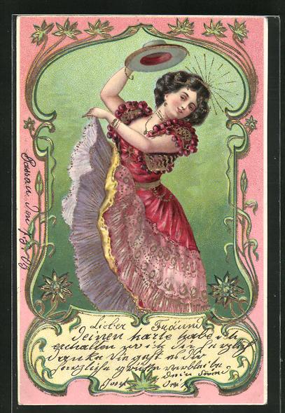 Präge-Lithographie Dame hebt den Hut beim Tanz, Jugendstil