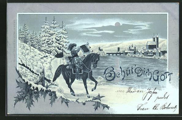 Mondschein-Lithographie Behüt Dich Gott!, Trompeter im Winter