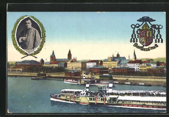 AK Mainz, 58. Generalversammlung der Katholiken Deutschlands 1911, Dampfer, Bischof