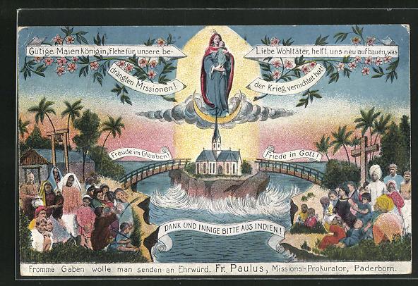 AK Paderborn, Fromme Gaben wolle man senden an Ehrwürd. Fr. Paulus, Missions-Prokurator, Indien