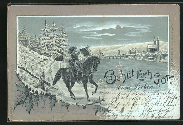 Mondschein-Lithographie Behüt Dich Gott!, Trompeter in der Winternacht