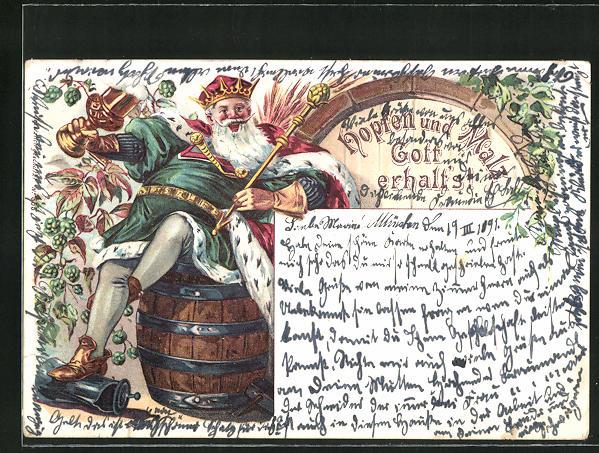 Lithographie Hopfen und Malz Gott erhalt`s, Fideler Bierkönig