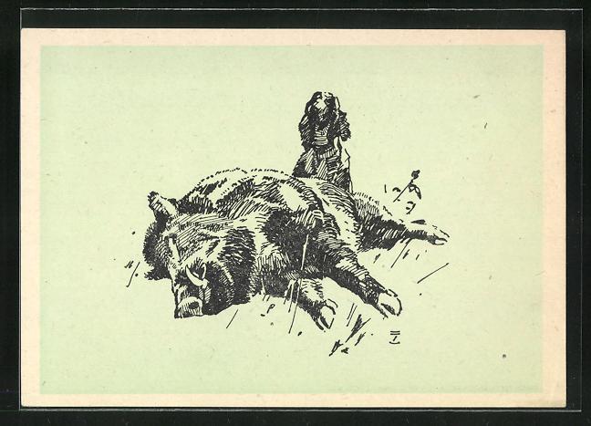 Künstler-AK Ludwig Hohlwein: Jagdhund am erlegten Keiler
