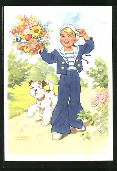 Künstler-AK Ilse Wende-Lungershausen: Blendax-Max mit Hund und Blumenstrauss, Reklame für Blendax Zahnpasta