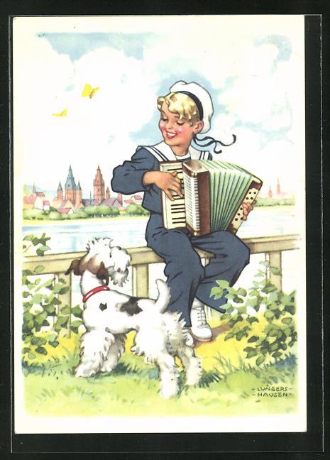 Künstler-AK Ilse Wende-Lungershausen: Blendax-Max mit Hund und Akkordeon, Reklame für Blendax Zahnpasta