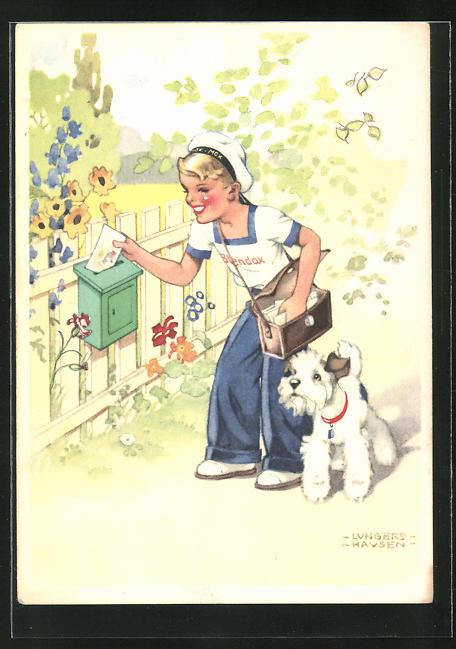 Künstler-AK Ilse Wende-Lungershausen: Blendax-Max als Postbote, Reklame für Blendax Zahnpasta