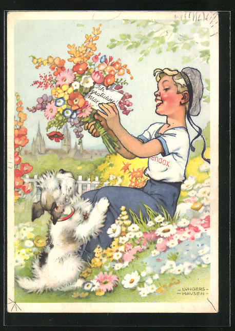 Künstler-AK Ilse Wende-Lungershausen: Blendax-Max gratuliert per Blumenstrauss, Reklame für Blendax Zahnpasta