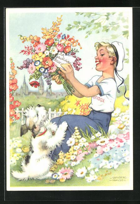 Künstler-AK Ilse Wende-Lungershausen: Blendax-Max gratuliert mit Blumen, Reklame für Blendax Zahnpasta