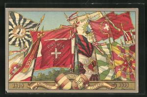 Künstler-AK Amicitiae patriae litteris, Centenaire de la societe de zofingue 1819-1919, Studentenwappen