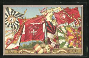 Künstler-AK Centenaire de la societe de zofingue 1819-1919, amicitae patriae litteris, Studentenwappen und Flaggen