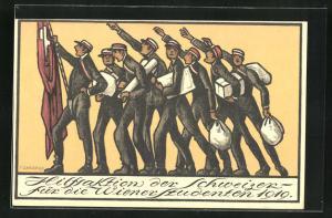 AK Hilfsaktion der Schweizer für de Wiener Studenten 1919, Stunden transportieren die Hilfsgüter, studentische Szene