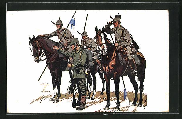 Künstler-AK Ludwig Hohlwein: Bayerische Kavallerie Division im Felde