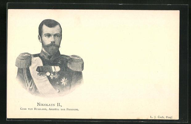 AK Portrait Nikolaus II. von Russland, Zar von Russland, Apostel des Friedens
