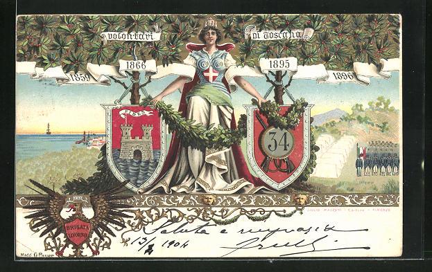 Lithographie Regiment der Infanterie, Volontari ni Toscana, Göttin mit Wappen