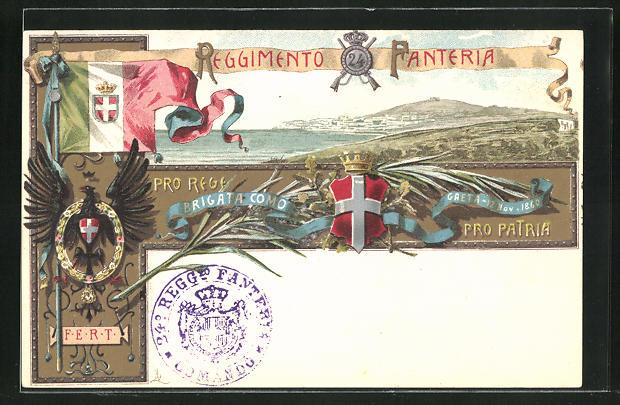 AK Regiment der Infanterie, Reggimento Fanteria, Landschaftsbild, Wappen