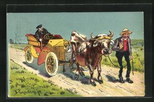 Künstler-AK Ermenegildo Carlo Donadini: Auto wird von einem Rind abgeschleppt