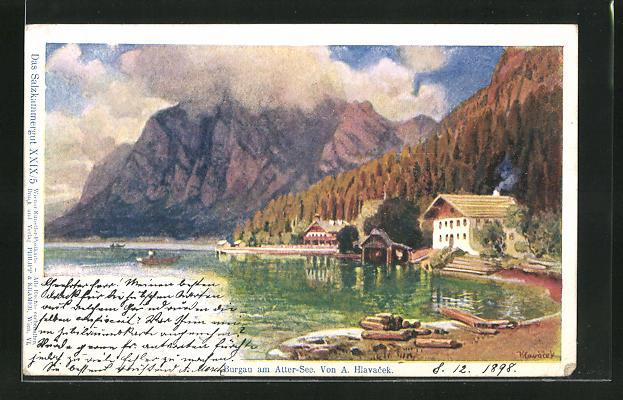 Künstler-AK Anton Hlavacek: Burgau am Attersee, Hütten am Seeufer