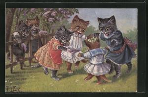 Künstler-AK Arthur Thiele: vermenschlichte Katzenkinder tanzen auf der Blumenwiese