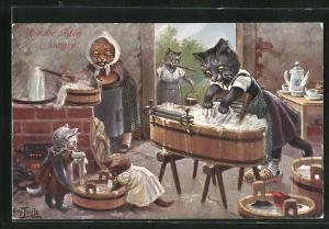 Künstler-AK Arthur Thiele: vermenschlichte Katzenfamilie in der Waschküche