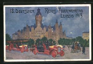 Künstler-AK Leipzig, 18. Deutscher Reichs-Feuerwehrtag 1913, Feuerwehrautos und Pferdekutsche
