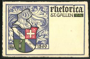 Künstler-AK St. Gallen, Studentenwappen, Rhetorica 26. Mai 1899