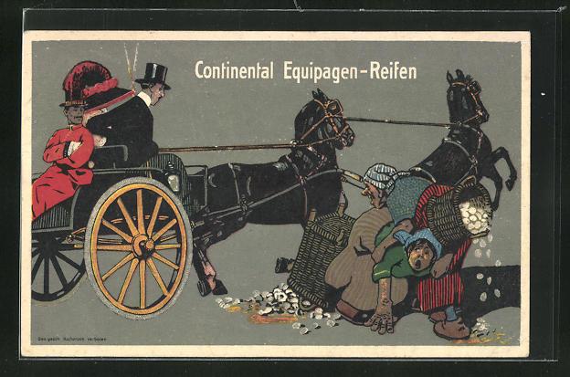 AK Reklame Continental Equipagen-Reiden, Pferdekutsche