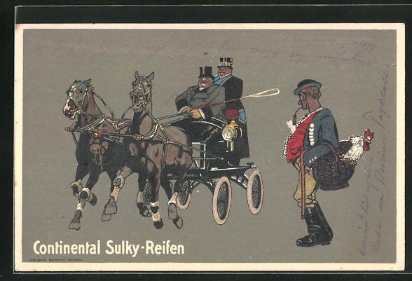 AK Reklame Continental Sulky-Reifen, Pferkutsche