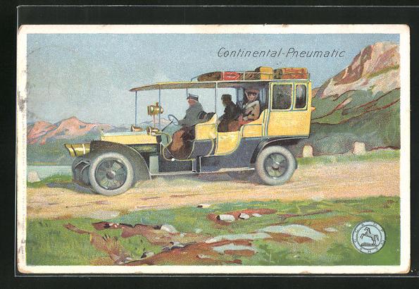 Künstler-AK Reklame Continental-Pneumatic, Auto mit Chauffeur und Gepäck