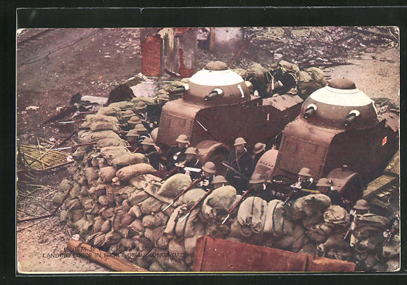 AK Landing Foroe in front of Ju-Kong Road, japanische Soldaten mit Panzer