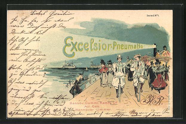 Lithographie Reklame Excelsior-Pneumatic, Strandpromenade mit Fahrradfahrern