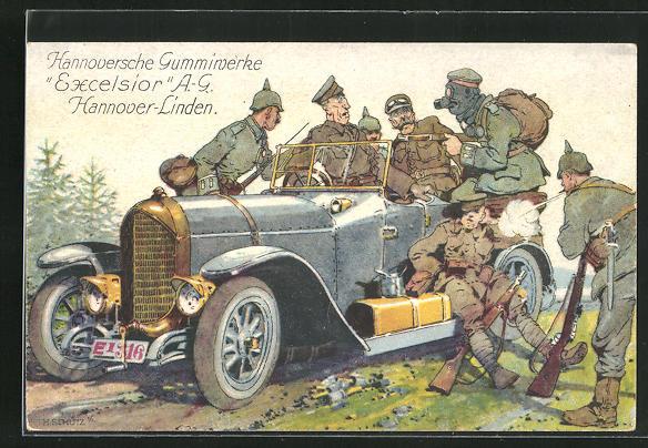 Künstler-AK Reklame Hannoversche Gummiwerke Excelsior A.G. Hannover-Linden, Soldaten mit Auto