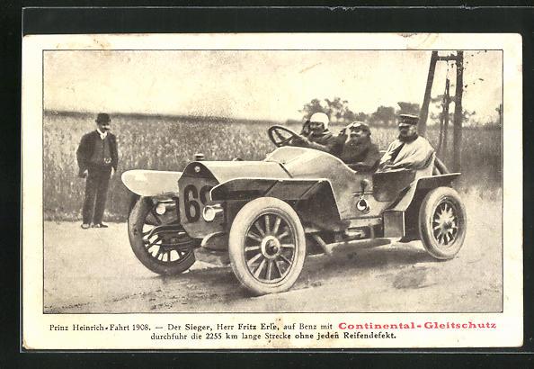 AK Prinz-Heinrich-Fahrt 1908, Sieger Fritz Erle auf Benz mit Continental-Gleitschutz, Autorennen