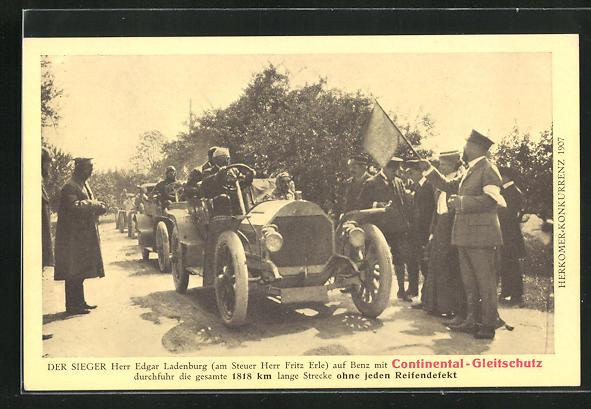 AK Herkomer-Konkurrenz 1907, Sieger Edgar Ladenburg auf Benz mit Continental-Gleitschutz, Autorennen