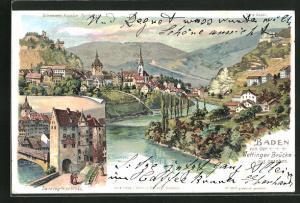 Künstler-AK C. Steinmann: Baden, Teilansicht von der Wettinger Brücke aus gesehen
