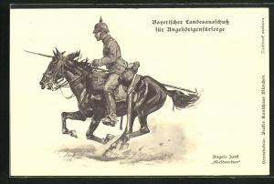 Künstler-AK Angelo Jank: Bayerischer Landesausschuss für Angehörigenfürsorge, Meldereiter