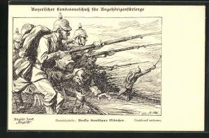 Künstler-AK Angelo Jank: Bayerischer Landesausschuss für Angehörigenfürsorge, Angriff, Soldaten in Uniformen