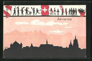 Künstler-AK Lausanne, Teilansicht u. Rahmen Schattenbild Männlein u. Schweizer Wappen