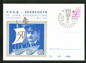 AK Antwerpen, V. V. K. S. Zeescouts, Portrait Seefahrer mit Schirmmütze und Schiff
