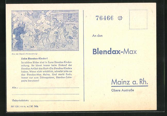 AK Mainz a. Rh., Blendax-Max, Schneewittchen und die sieben Zwerge